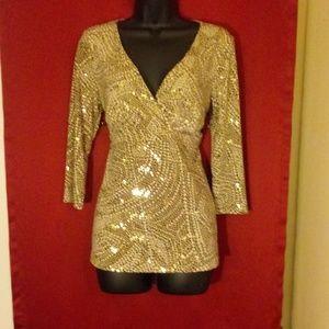 INC Concepts golden beige blouse